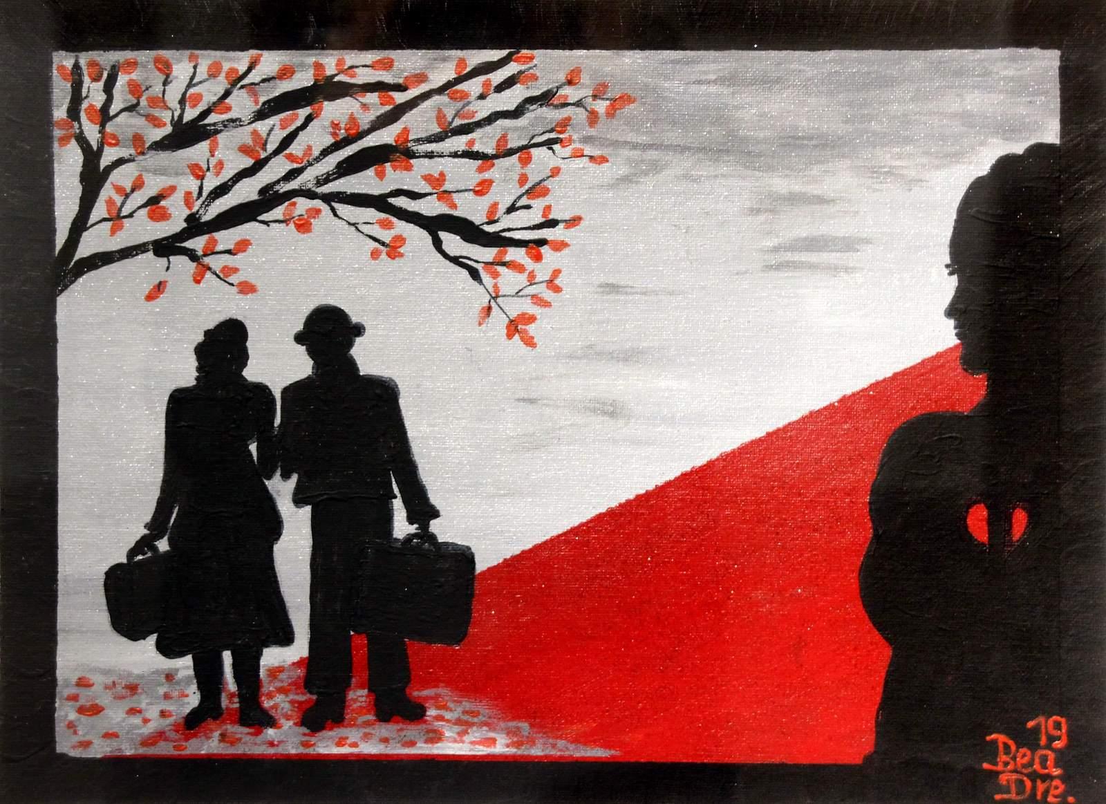 Liebe und Leid (1), Trilogie, Acrylfarbe, 40 x 50 cm, 2019
