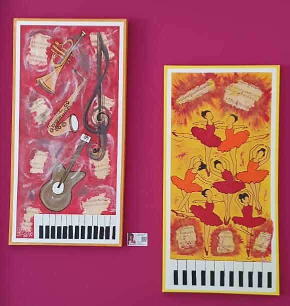Let´s dance,  Acryl- und Spachtelarbeit, je 100 x 50 cm, 2020