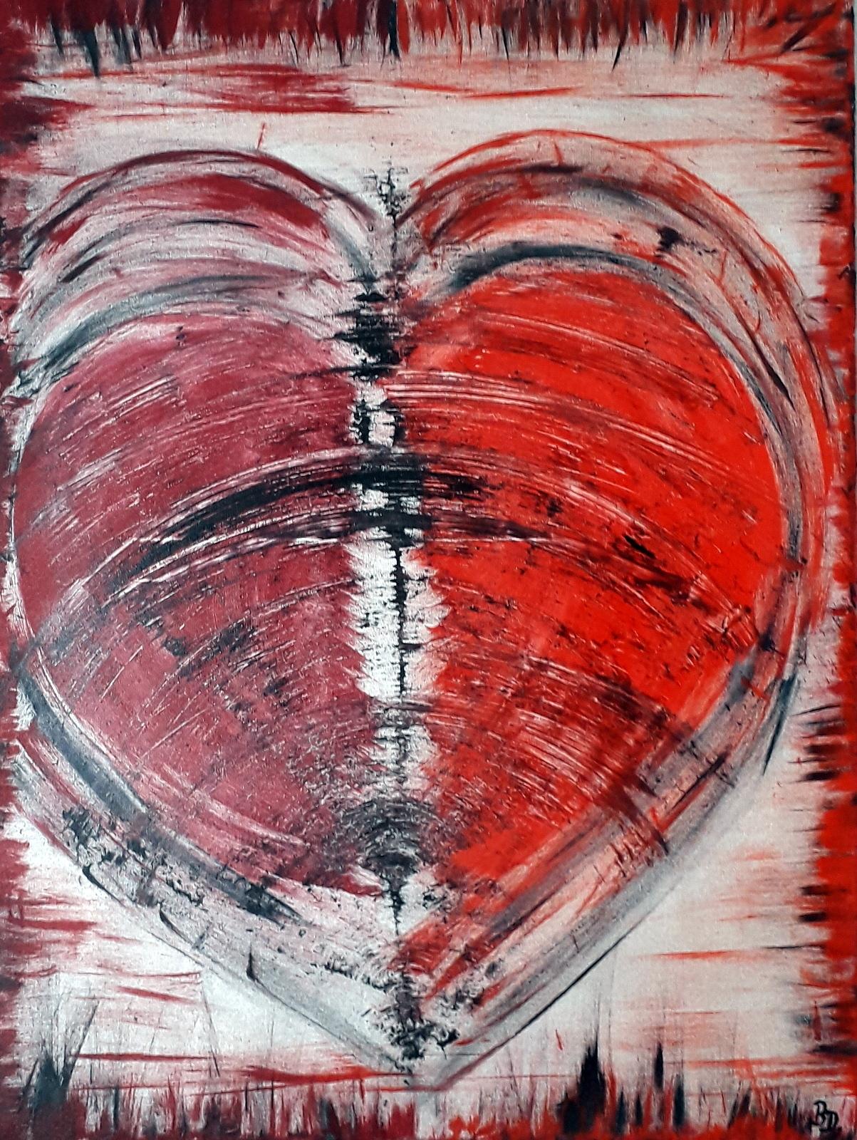 Gebrochenes Herz,  Acryl- und Spachtelarbeit, 70 x 60 cm, 2019