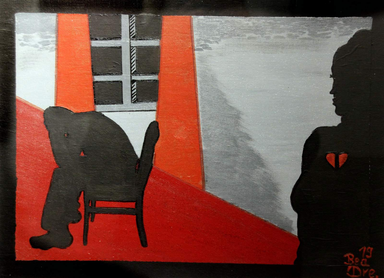Liebe und Leid (3), Trilogie, Acrylfarbe, 40 x 50 cm, 2019