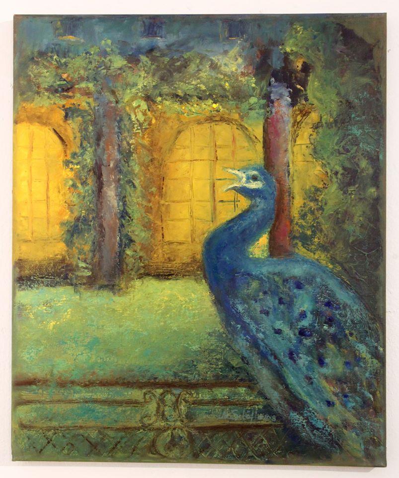Abendschrei des Pfauen, Öl auf Leinwand, 60 x 50 cm