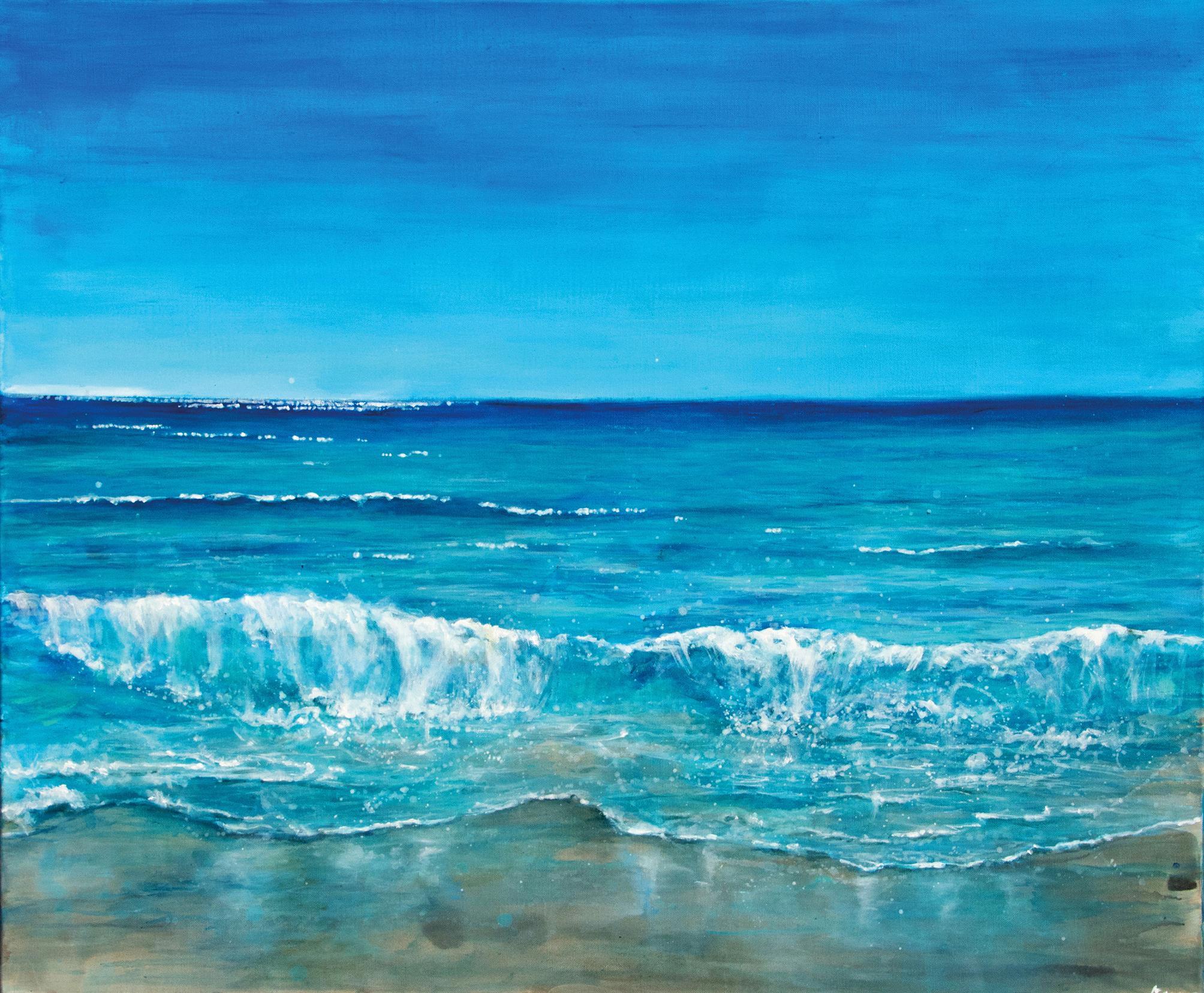 dans le bleu: mer et plage, 2018, Acryl auf Leinwand, 100 x 120 cm