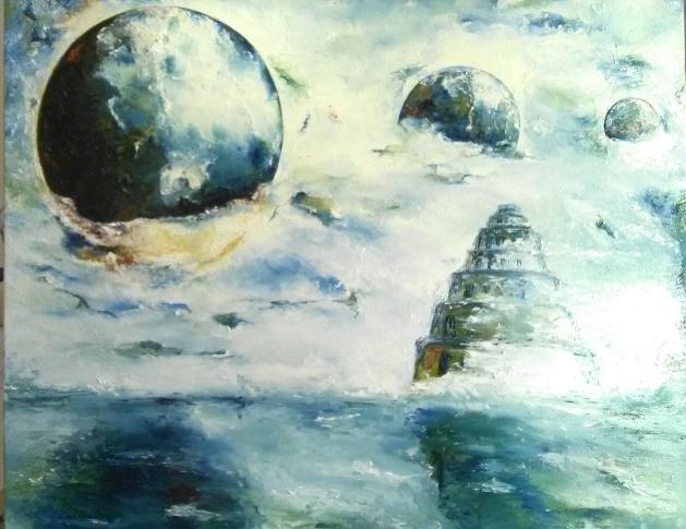 """""""Babel"""" , Ölgemälde, Spachteltechnik, 80 x 80 cm"""
