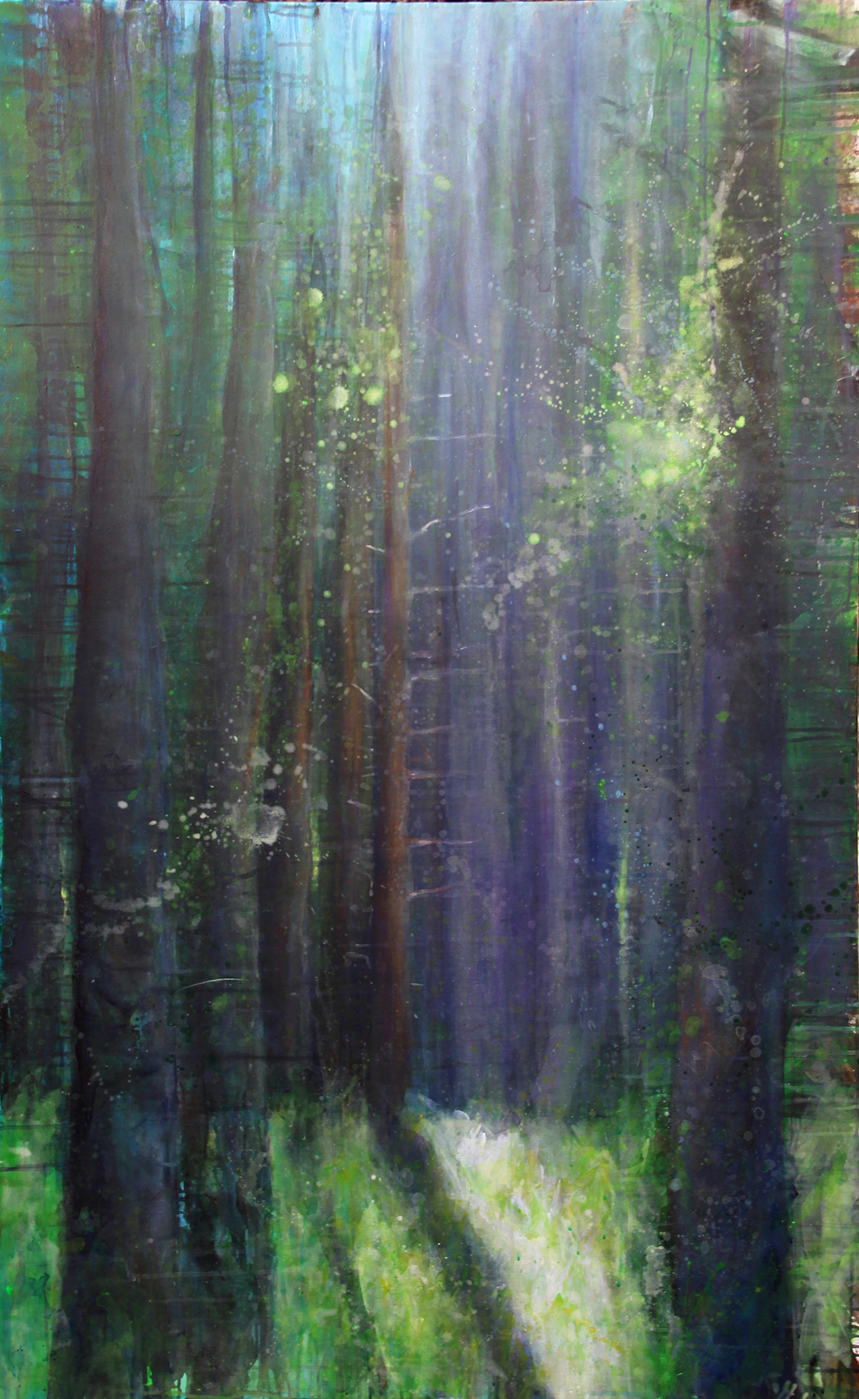 breathing green: secret place, Acryl auf Leinwand, 160 x 100 cm, 2017