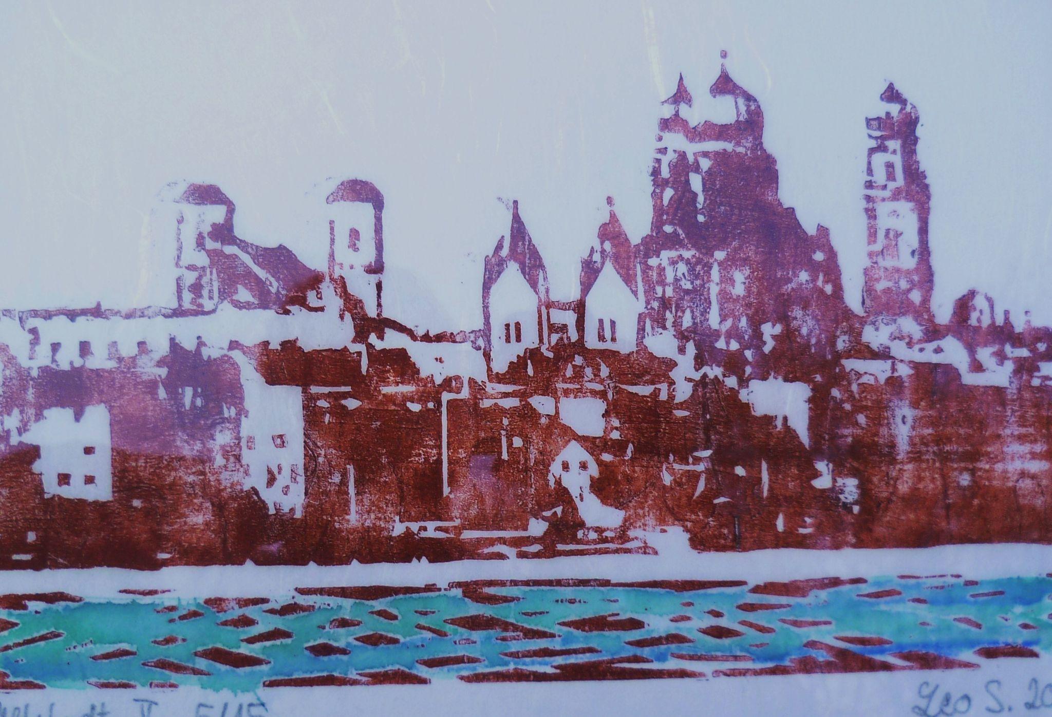 Leo Schreiner: Altstadt Holzschnitt auf Japanpapier, 15x20