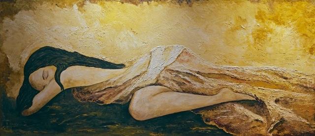 """Genuss"", Ölgemälde, Spachteltechnik, 50 x 150cm"