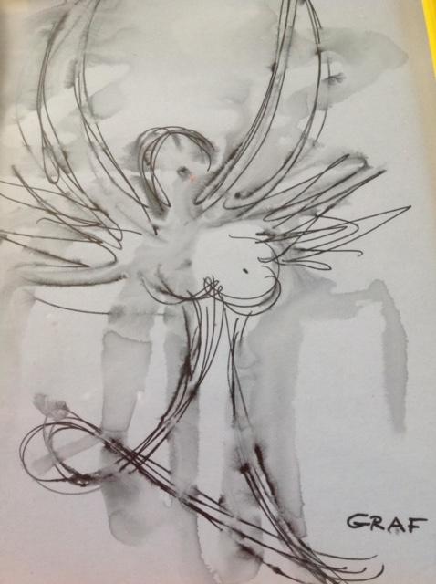 Engel Tuschezeichnung