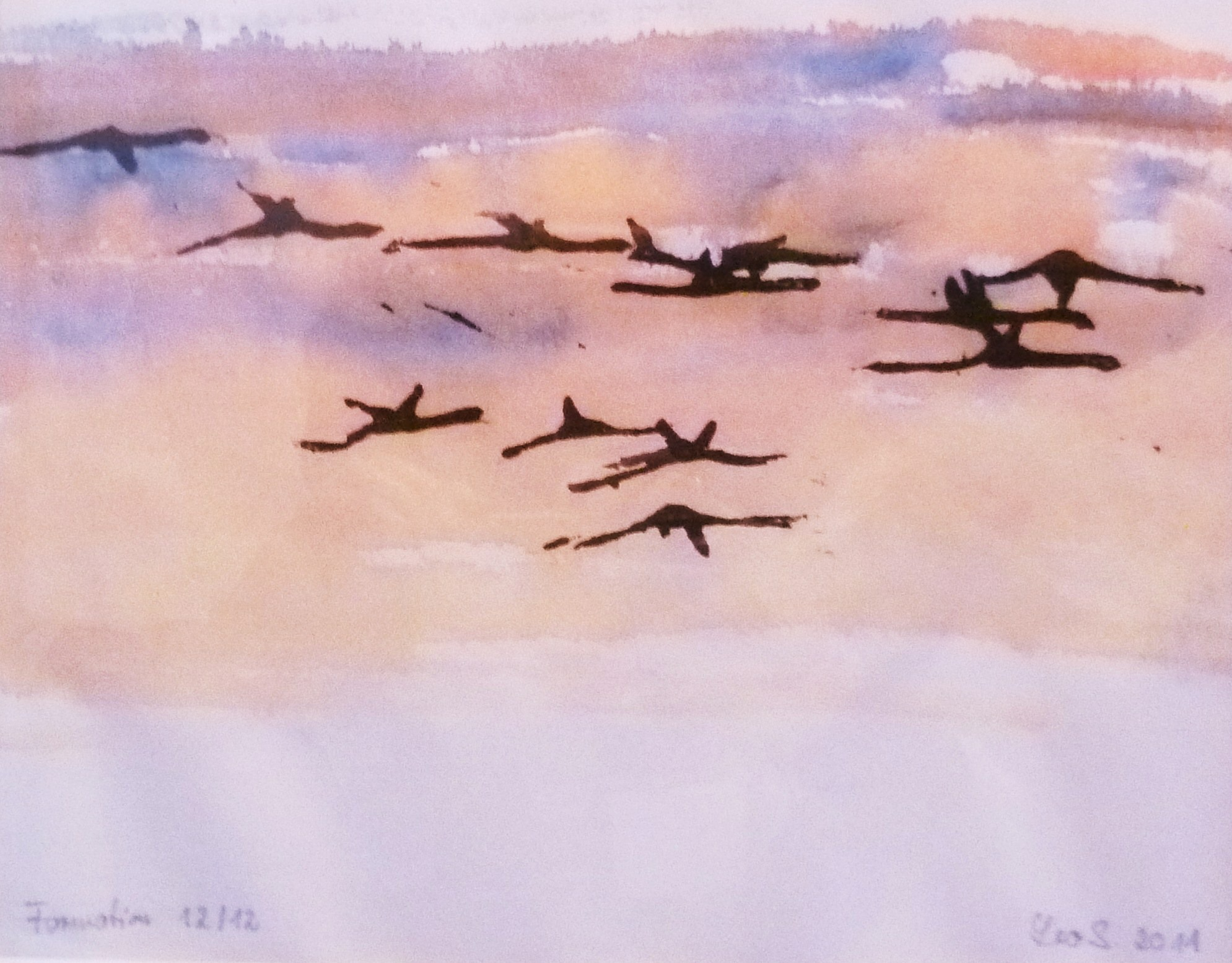 Leo Schreiner: Wandervögel Holzschnitt auf Japanpapier, 20x40