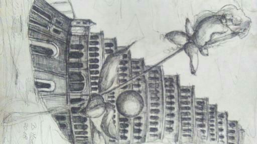 """""""Utopische Städte"""", Zeichnung, DIN A4"""