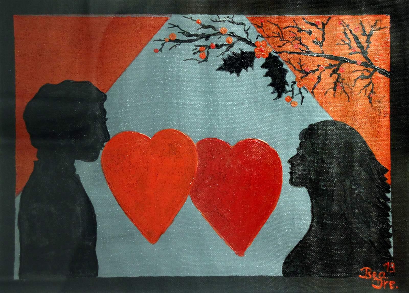 Liebe und Leid (2), Trilogie, Acrylfarbe, 40 x 50 cm, 2019
