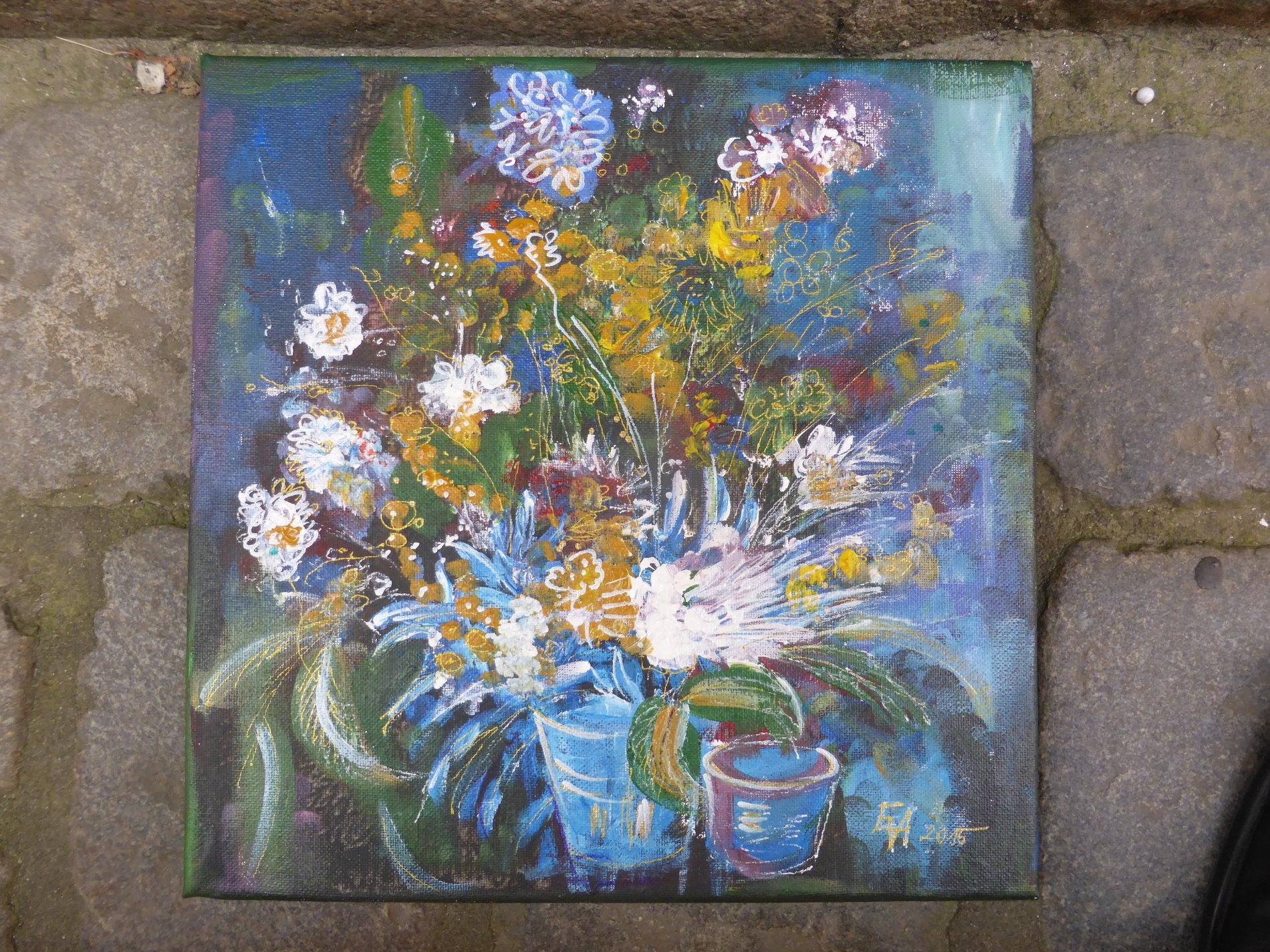 Blumen im Eimer, Öl auf Leinwand