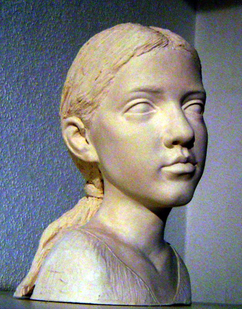 Portraitkopf, weisser Ton gebrannt,  ca. 30cm hoch, 2006