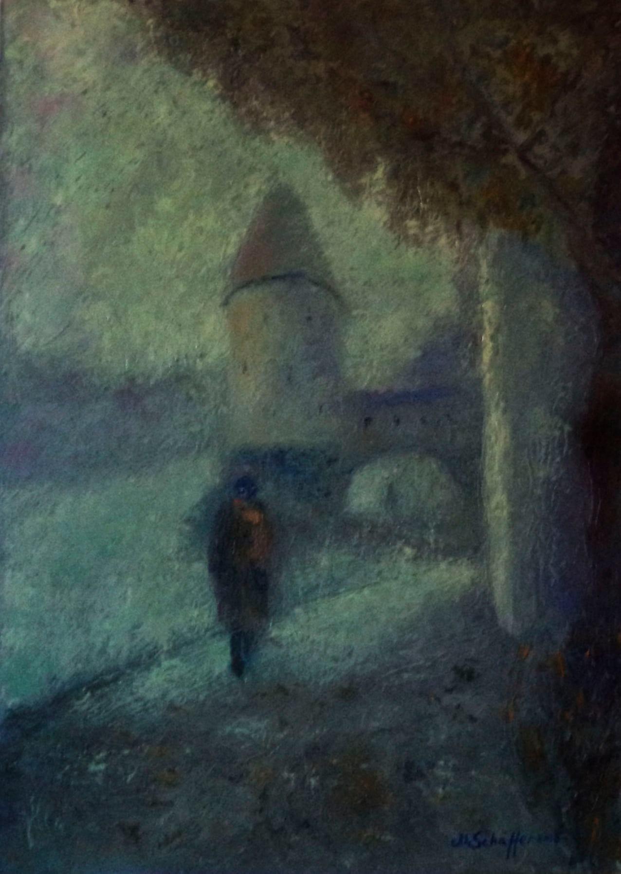 Im Nebel, Öl auf Leinwand, 60 x 50 cm