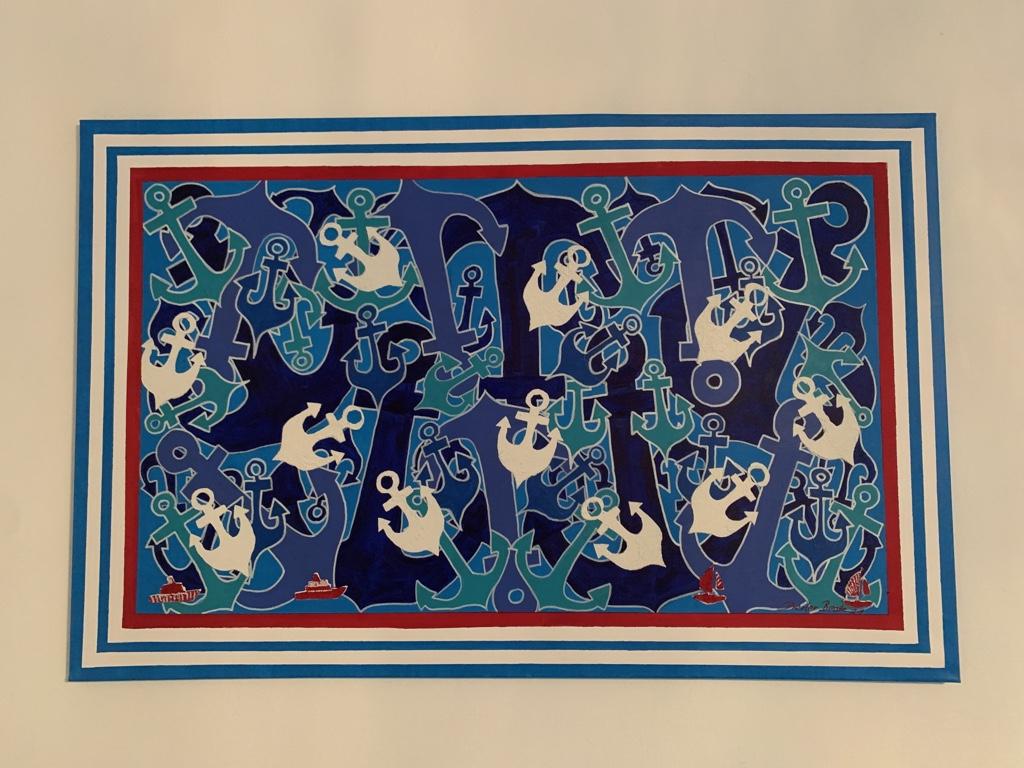 "Serie ""Ahoi"", Acryl- und Spachtelarbeit, 75 x 116 cm, 2020"