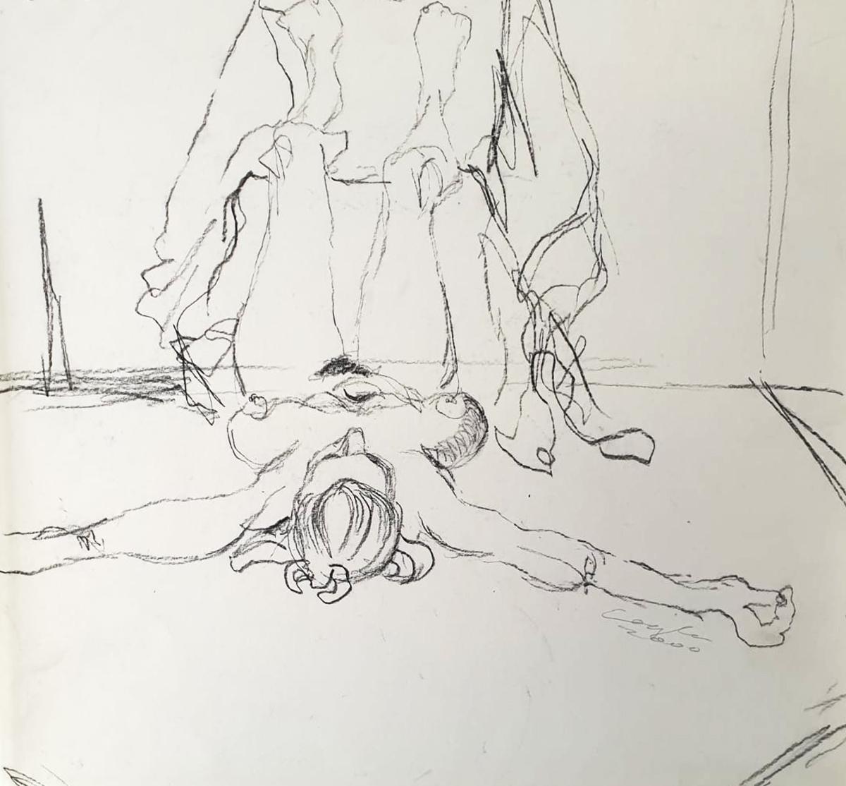 Akt 7, Zeichnung, Kohle
