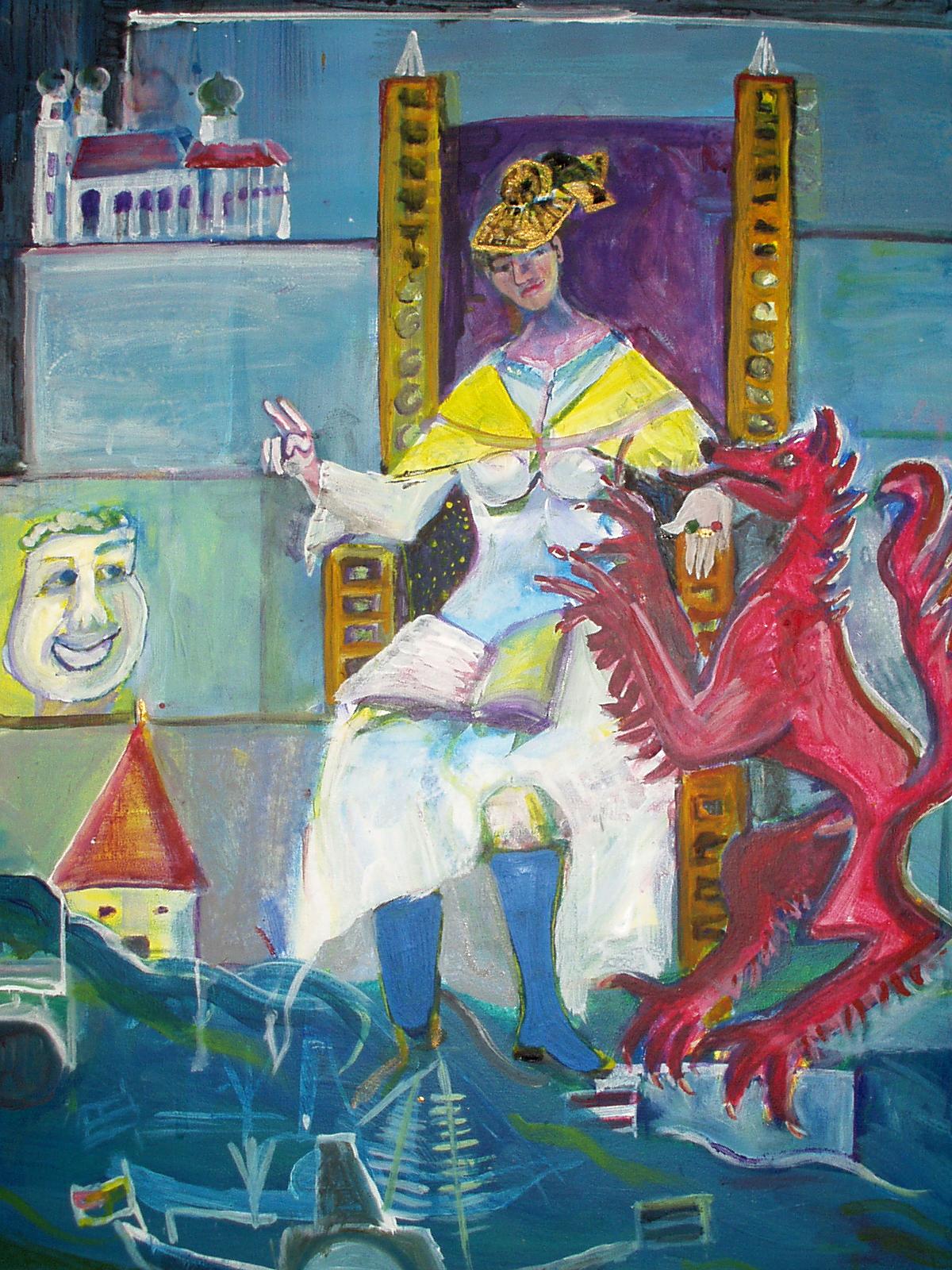 Die Passauer Bischöfin, Malerei, 70 x 50 cm, 2003