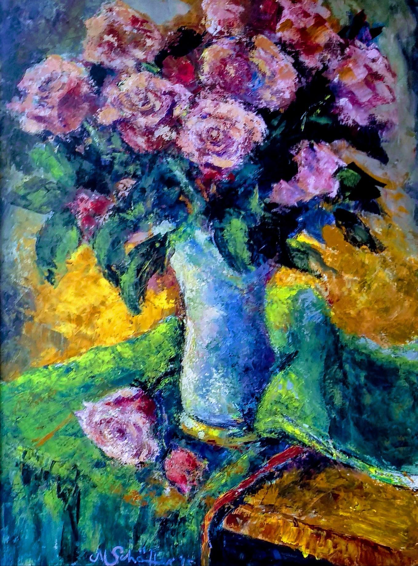 Meine Gartenrosen, Acryl auf Leinwand, 80 x 60 cm