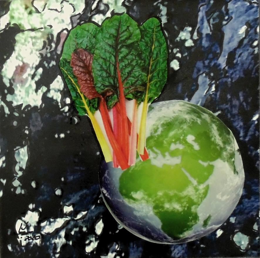 GREEN WORLD, FotoCollage 2020, FINE-Art Foto-Print auf HahnemühleBütten montiert auf Canvas, hxb 20 x 20 cm