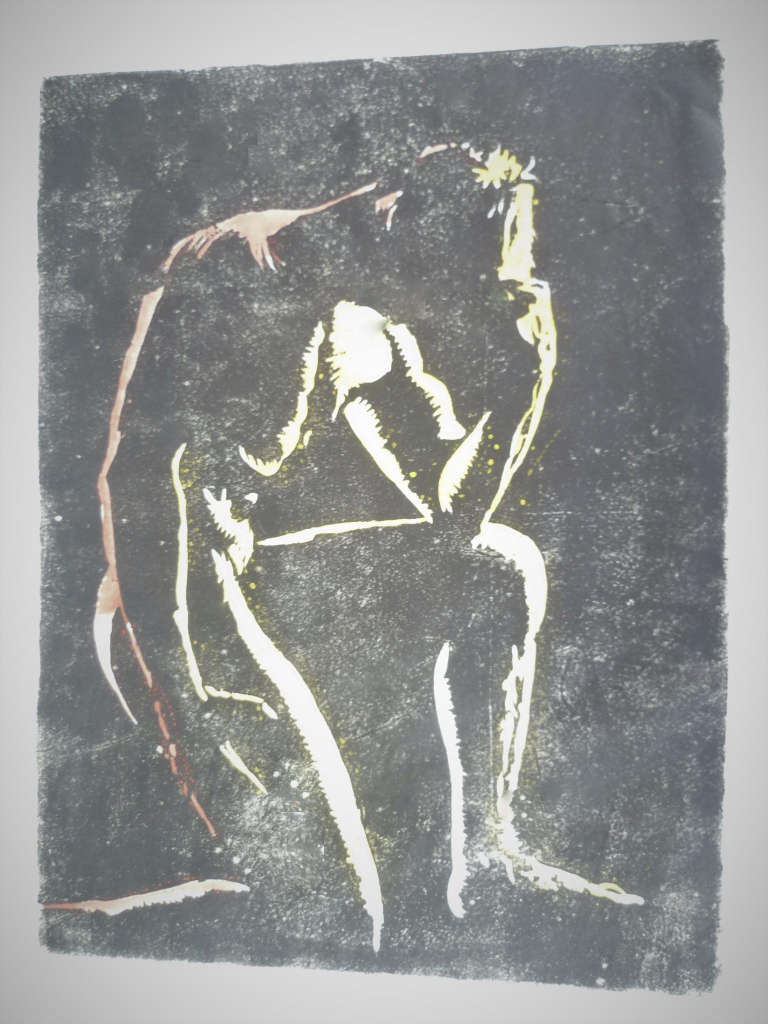 the thinker, Holzschnitt, 30 x 25 cm