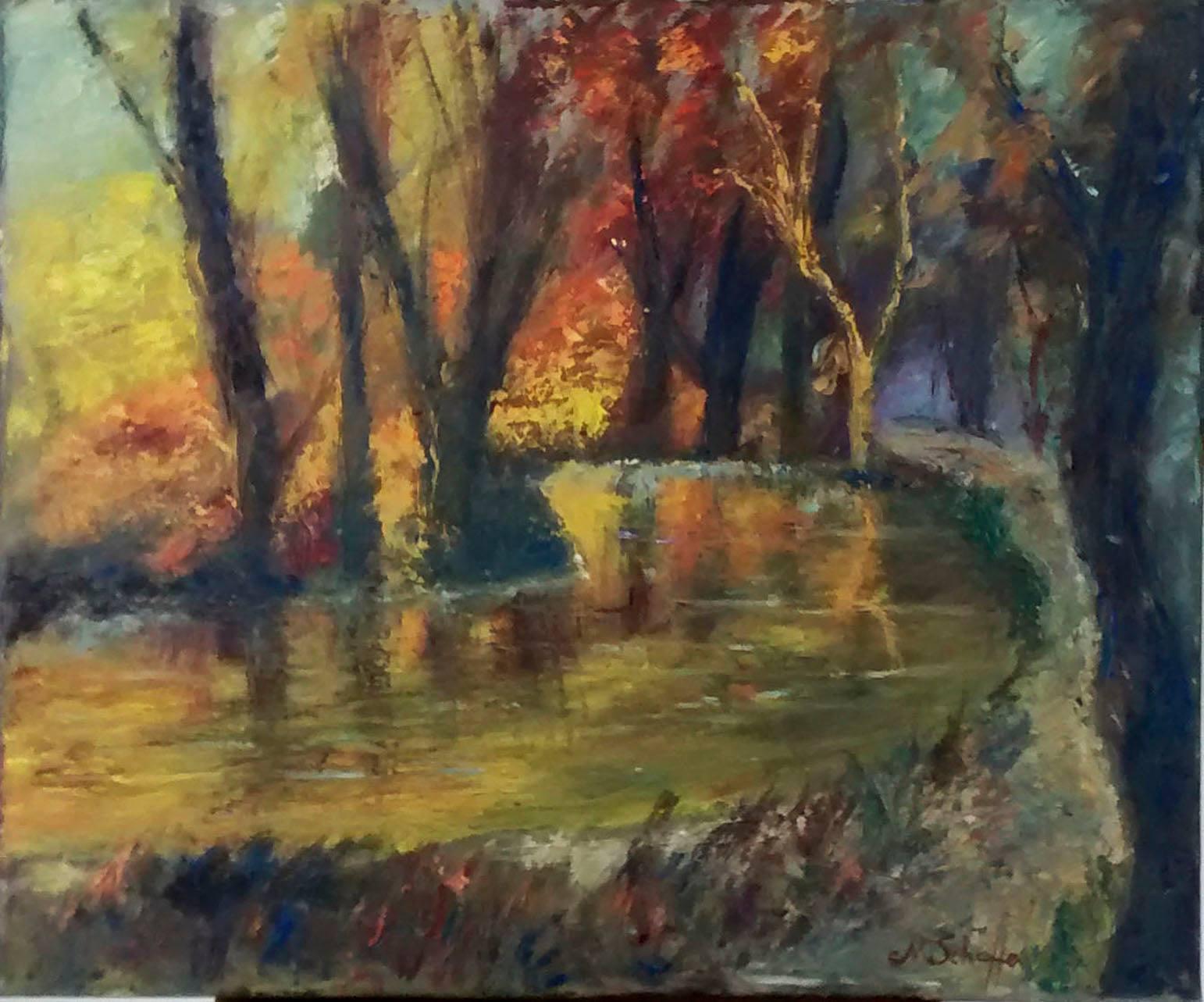 Oktober am Teich, Öl auf Leinwand, 50 x 60 cm