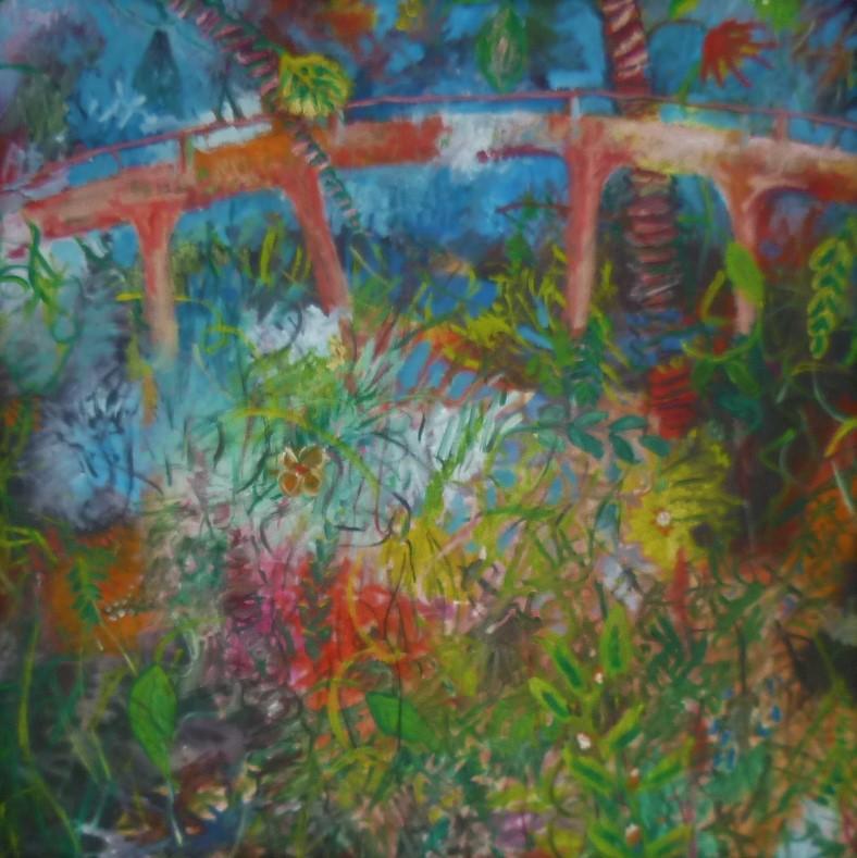 Dschungel I , Öl auf Leinwand, 100 x 100 cm