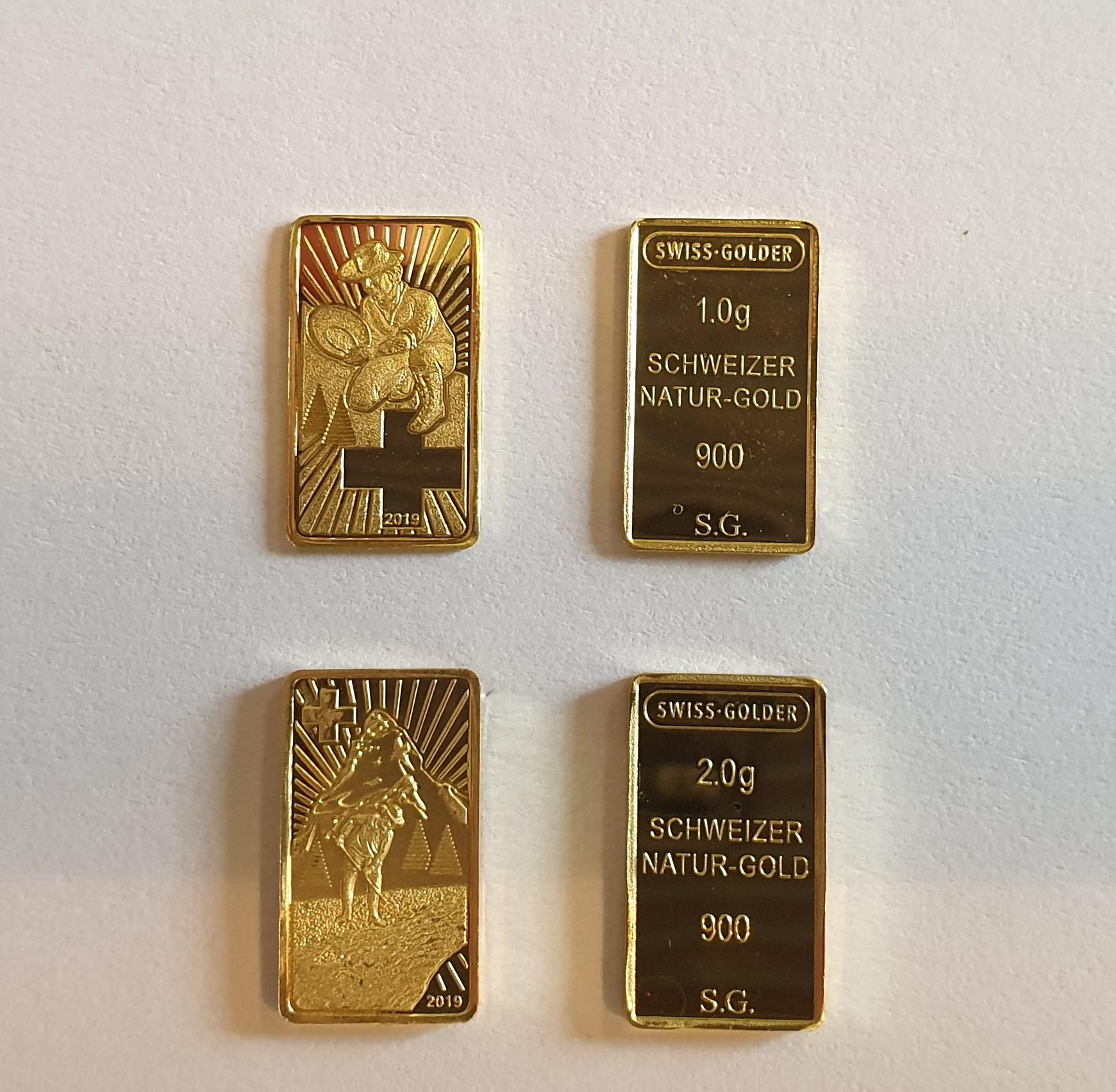 1 + 2 gramm Goldbarren aus Schweizer Naturgold