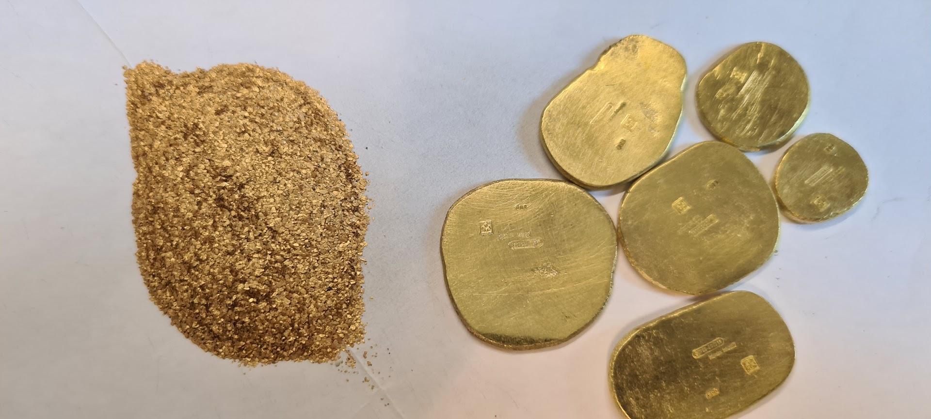 Goldbarren/Tropfen zur Weiterverarbeitung an Goldschmiede
