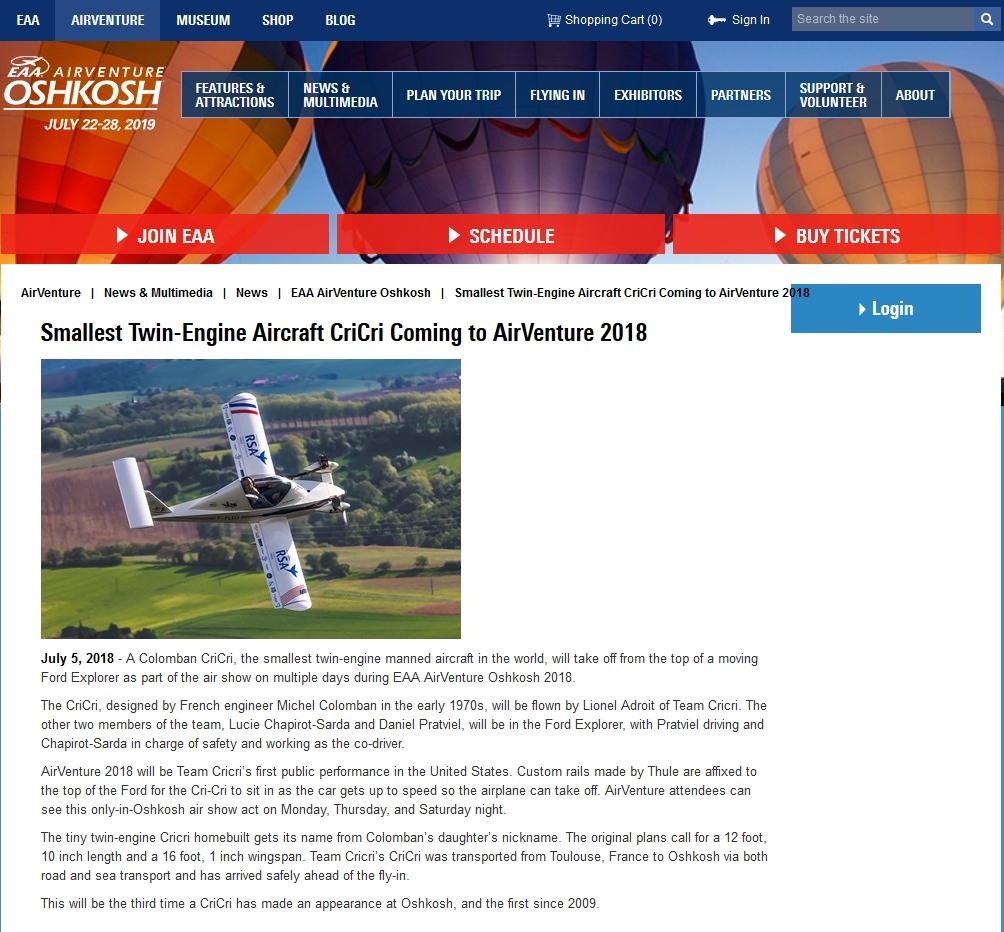 EAA AirVenture Oshkosh 2018 : Cricri