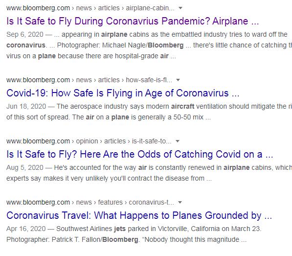 コロナと飛行機移動の安全性についての記事はあふれている