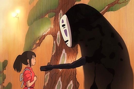No Face with Chihiro  Source: studio Ghibli, Nibariki, Hayao Miyazaki