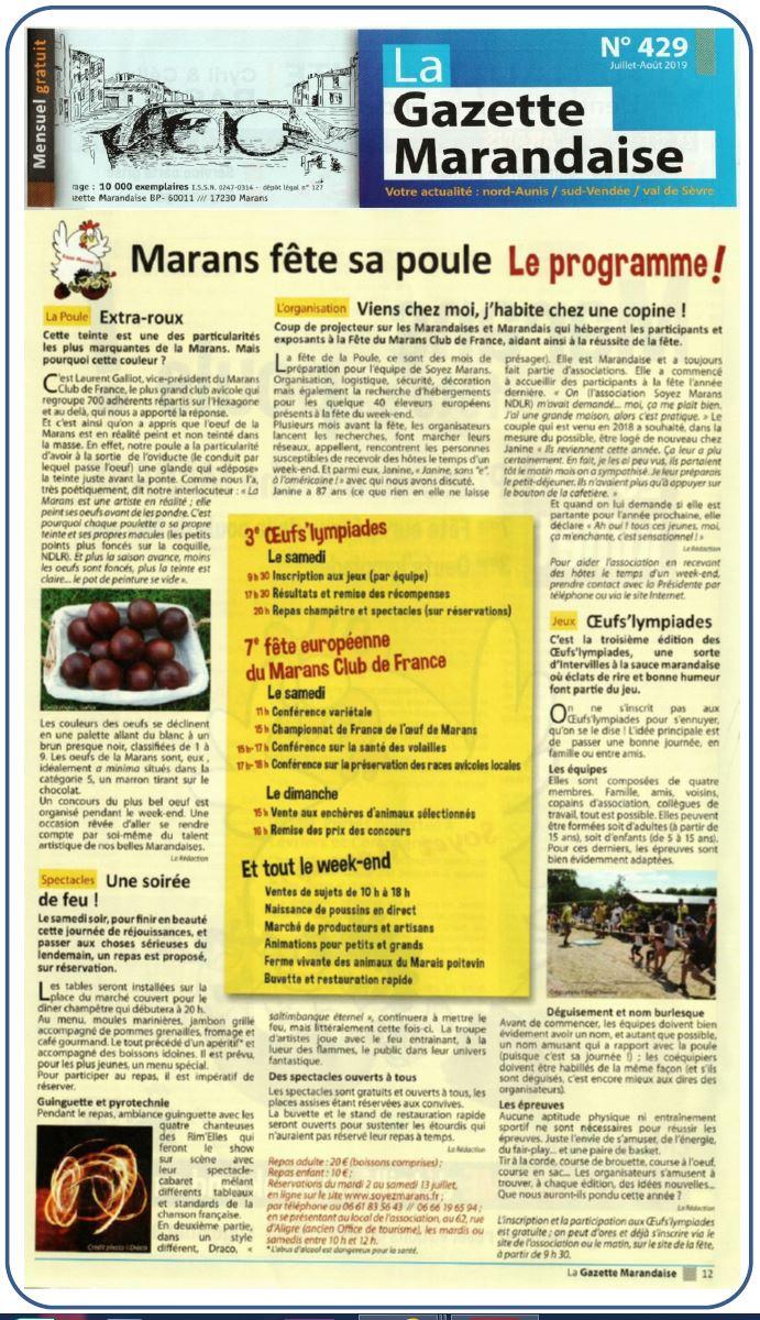 Marans fête sa poule 2019 - La Gazette marandaise - Juillet 2019 - Encart 1