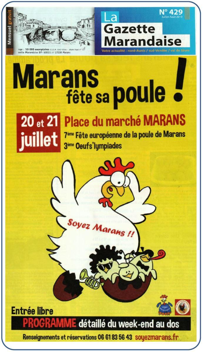 Marans fête sa poule 2019 - La Gazette marandaise - Juillet 2019 - Encart 2