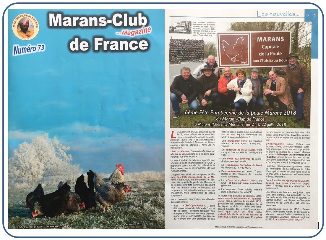 Revue Marans Club de France - Article - n° 73 - Décembre 2017
