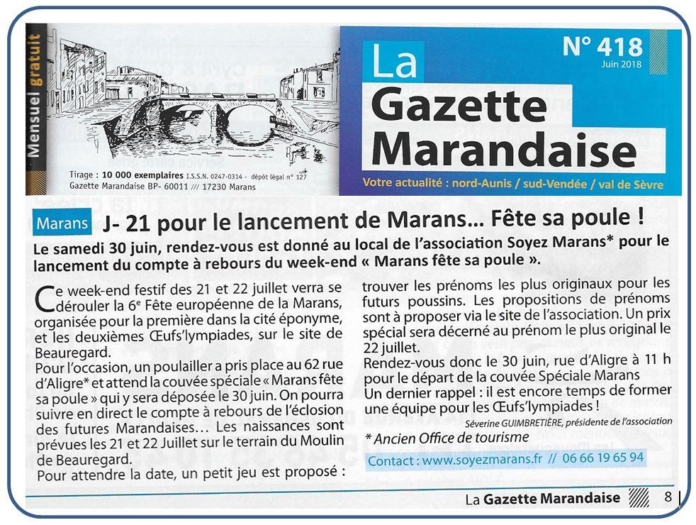 J - 21 pour le lancement de Marans fête sa poule - La Gazette marandaise - Juin 2018