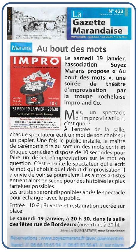 Théâtre d'improvisation - La gazette marandaise - Décembre 2018
