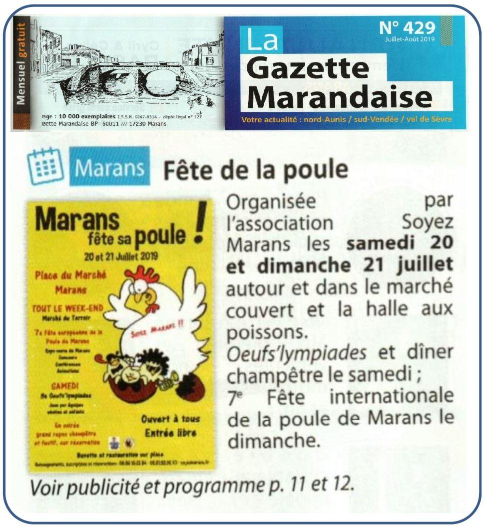 Marans fête sa poule 2019 - La Gazette marandaise - Juillet 2019