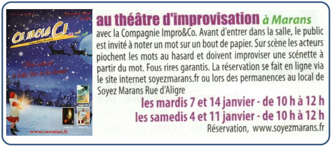 Théâtre d'improvisation - Ce mois ci - Décembre 2019