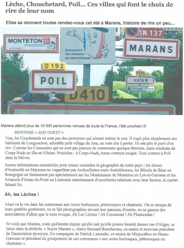 14e rassemblement - Marans - Article Internet