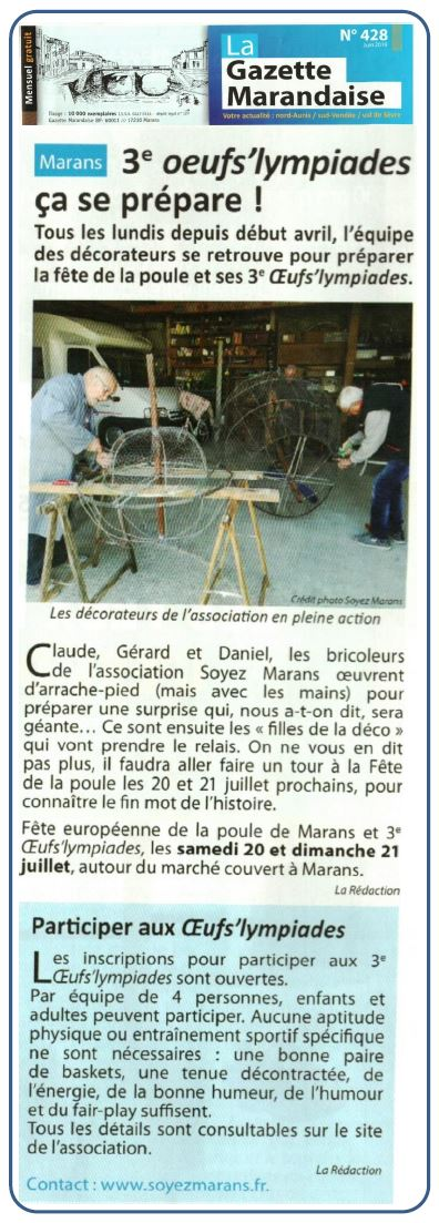 Marans fête sa poule 2019 - La Gazette marandaise - Juin 2019