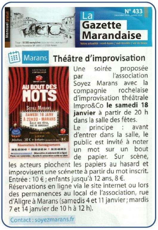 Théâtre d'improvisation - La Gazette marandaise - Décembre 2019
