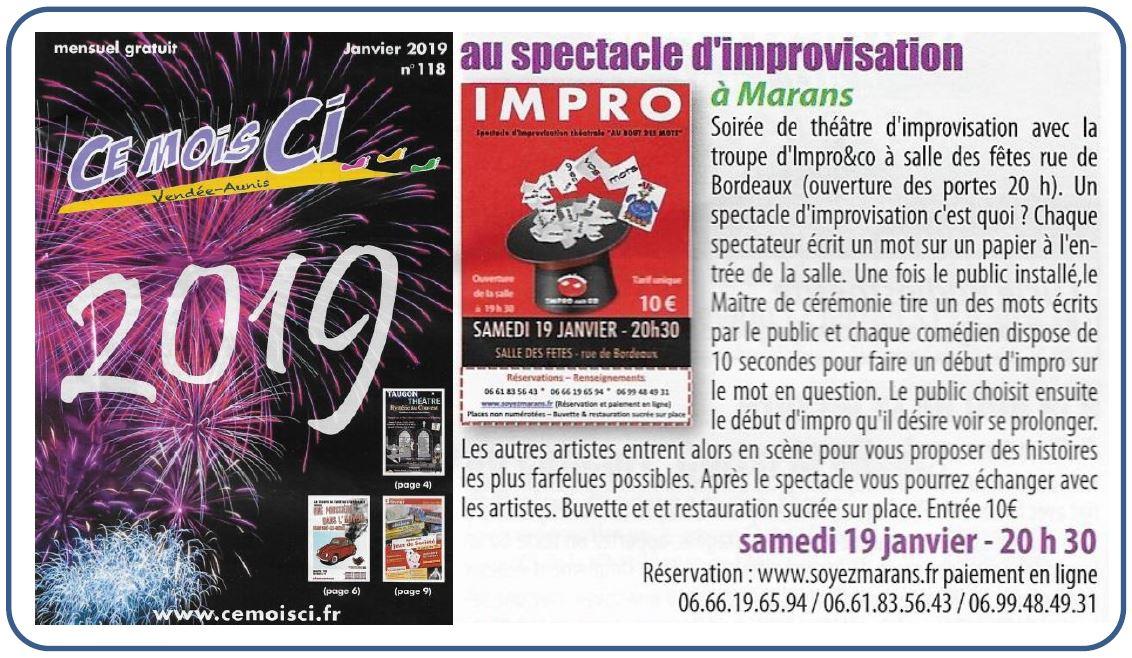 Théâtre d'improvisation - Ce mois ci - Janvier 2019