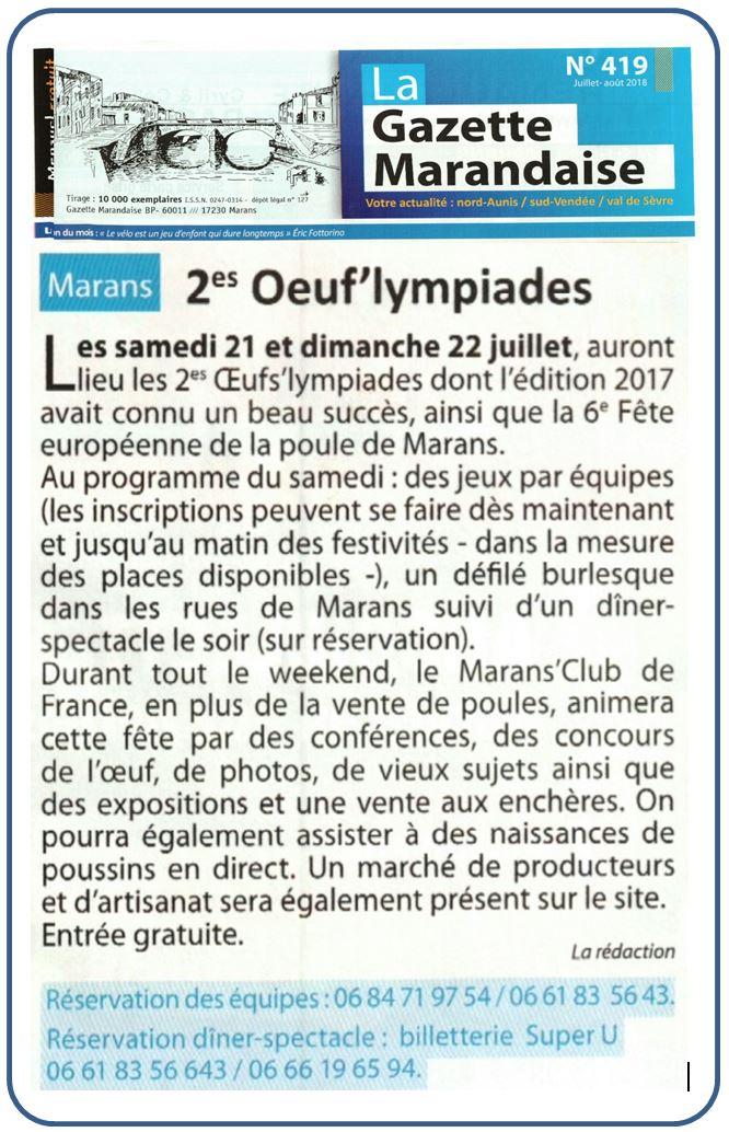 2e oeufs'lympiades - 2018 - La Gazette marandaise - Juillet 2018