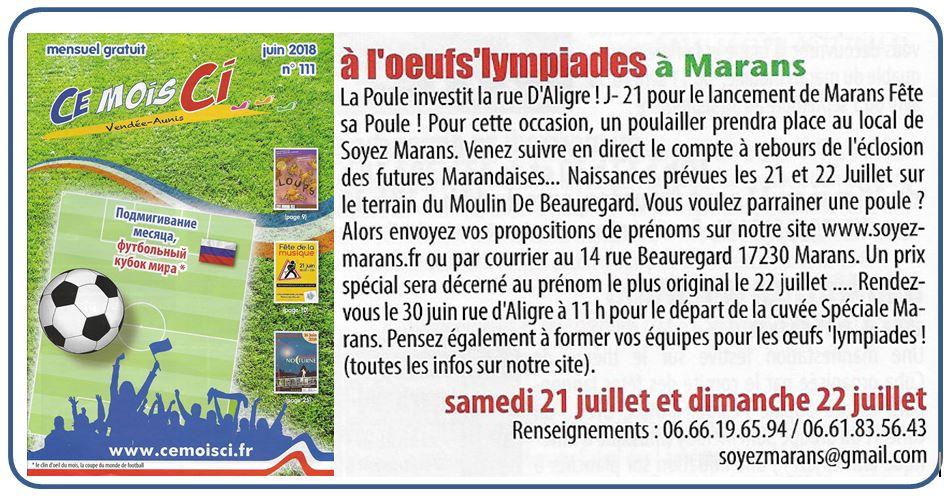 Les oeufs'lympiades à Marans - Ce mois ci - Juin 2018