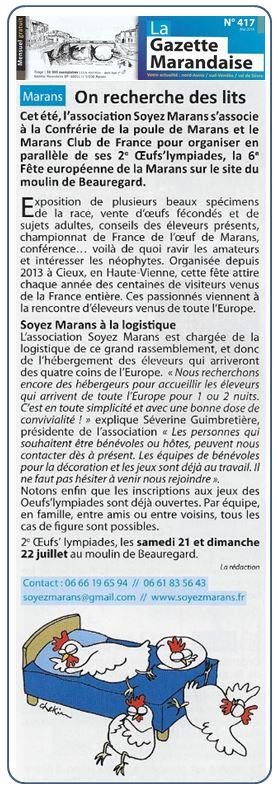 2e oeufs'lympiades - 2018 - La Gazette marandaise - Mai 2018