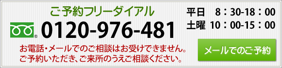 ご予約フリーダイアル0120-976-481