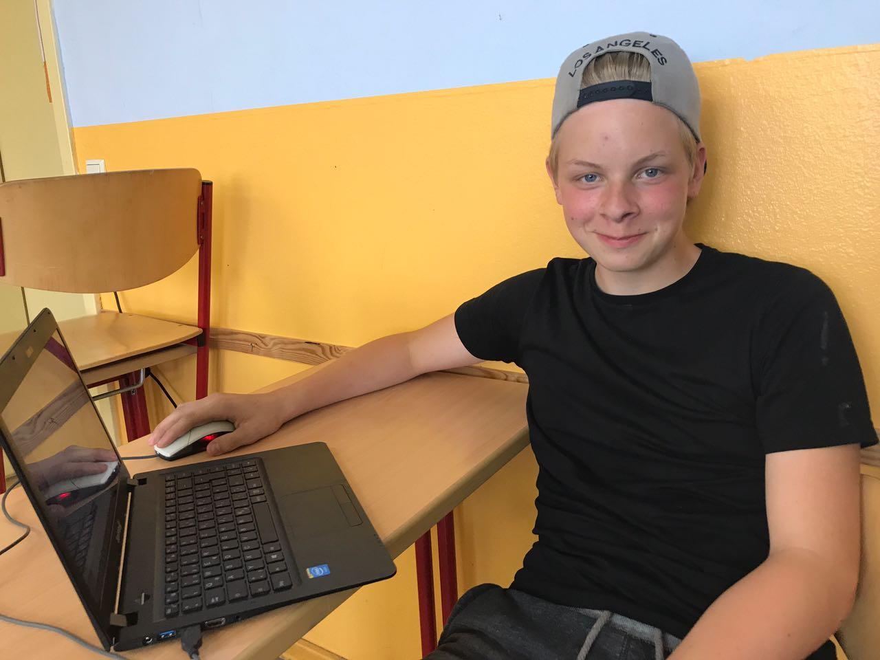 """Luca Borchert (14 Jahre) """"Ich nehme zum Einkaufen einen Rucksack."""""""