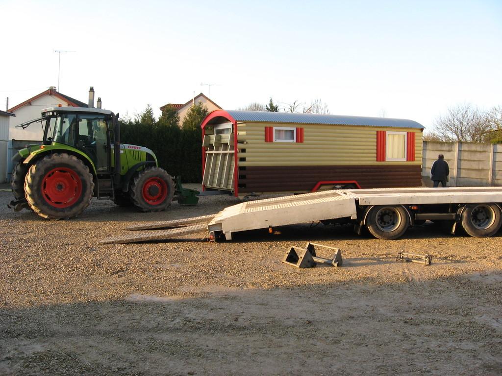 Déplacement poussé par un tracteur