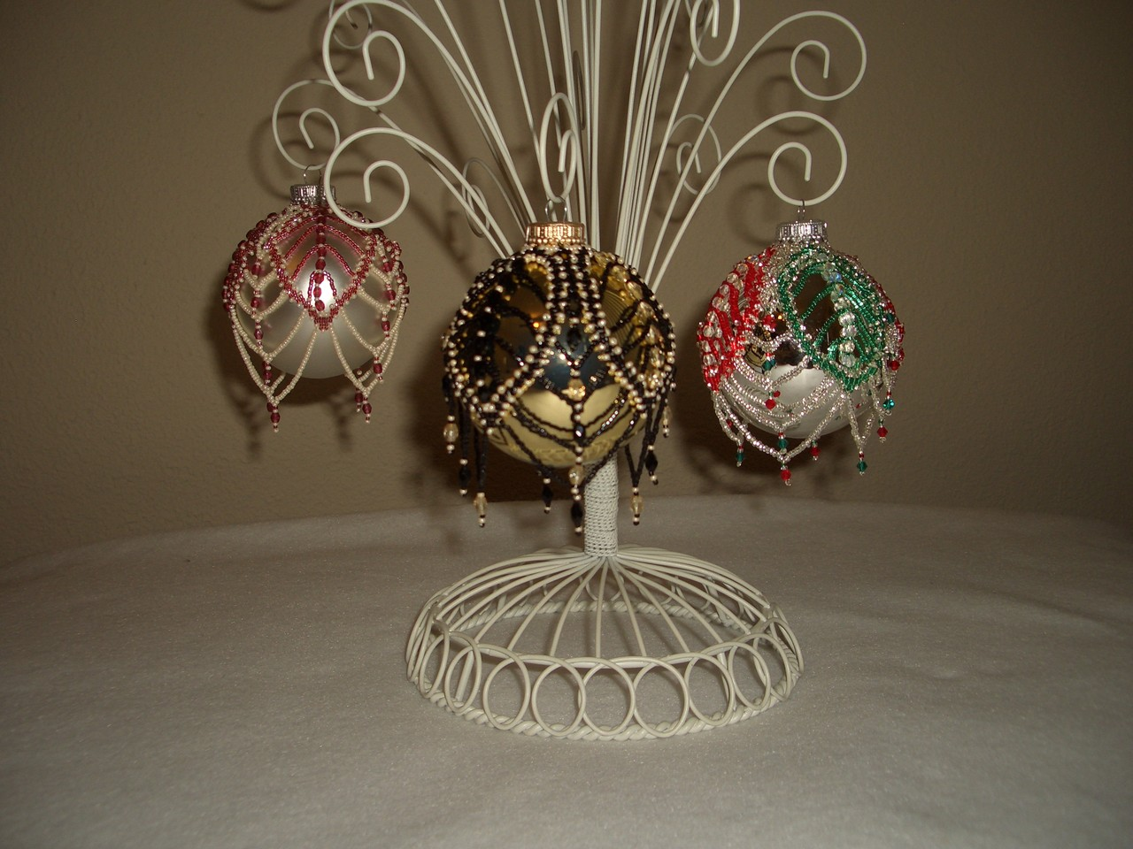 Hand Stitched Beaded Russian Leaf Design Ornament Covers