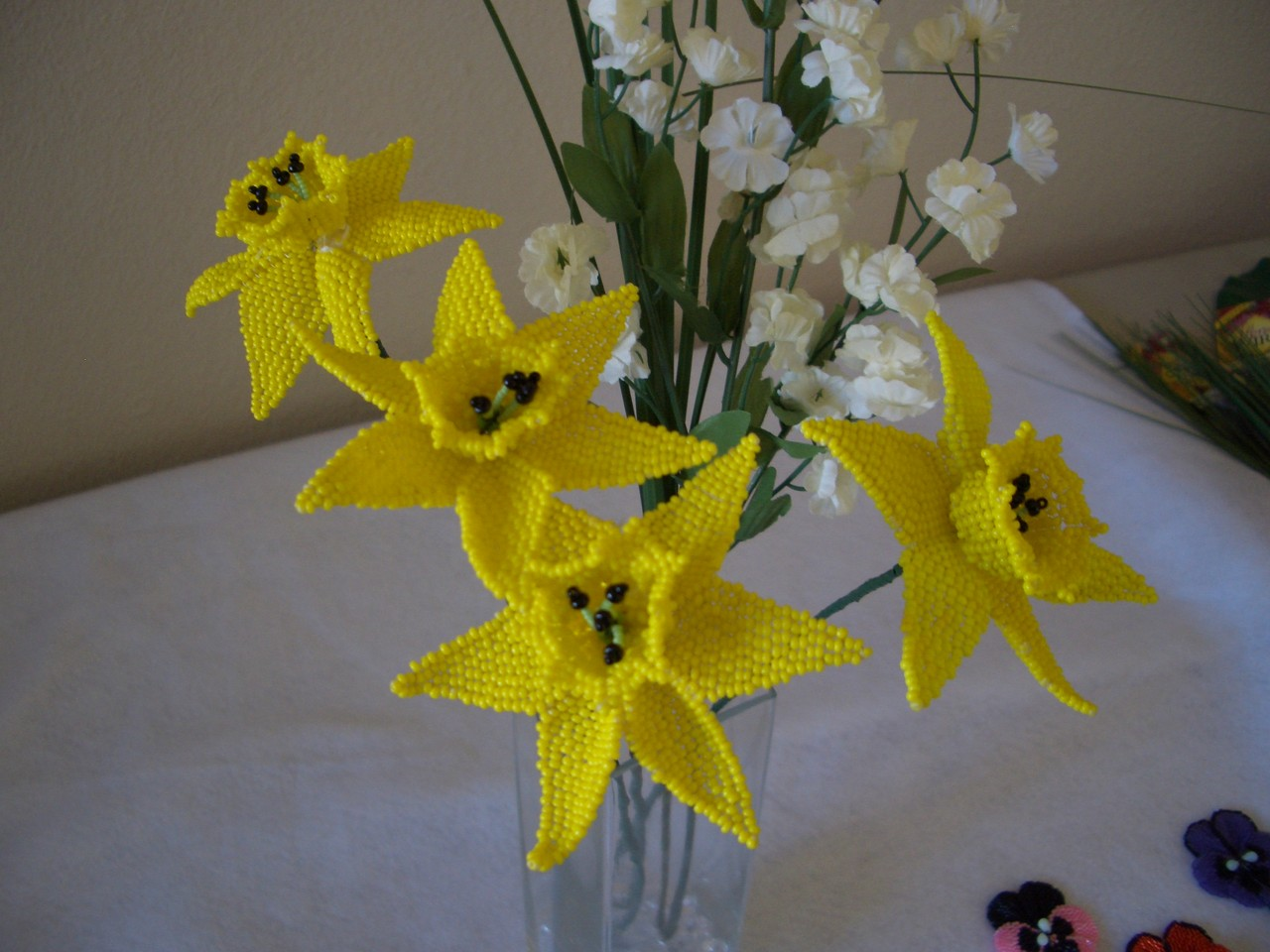 Daffodil Beaded Flower Bouquet Arrangement
