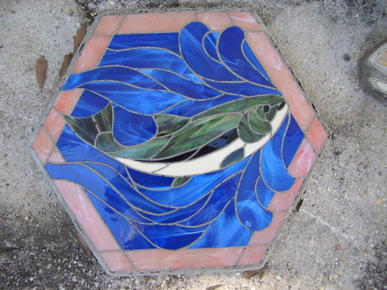 Fish Stained Glass Mosaic Stepping Stone